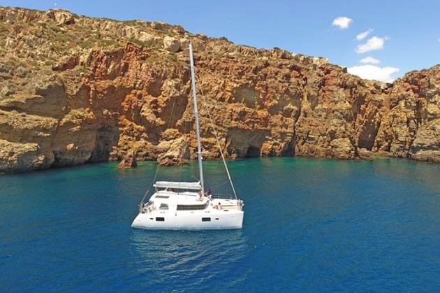A catamaran off of the coast of Greece near Athens.