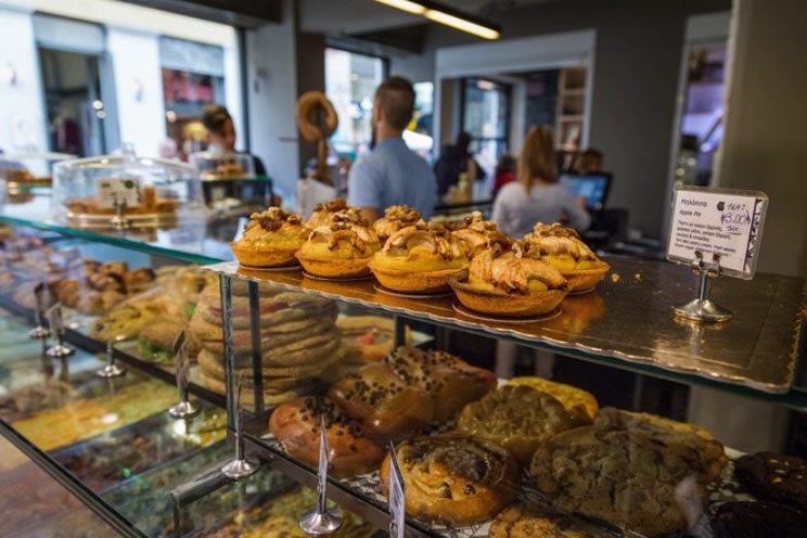 Pastries laid out n a display case in Lisbon, Portugal.