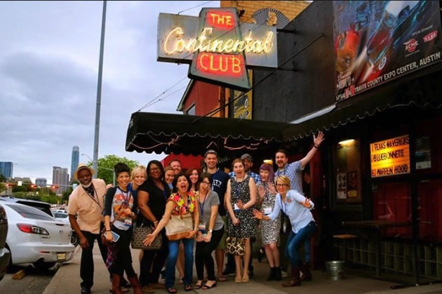 Fans in from of the Continental Club in Austin on a Live Music Adventure tour.