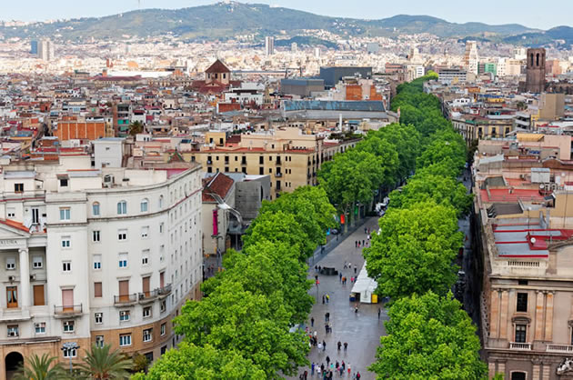 Barcelona day tours - A view from the rooftops of the La Rambla in Barcelona, Spain.