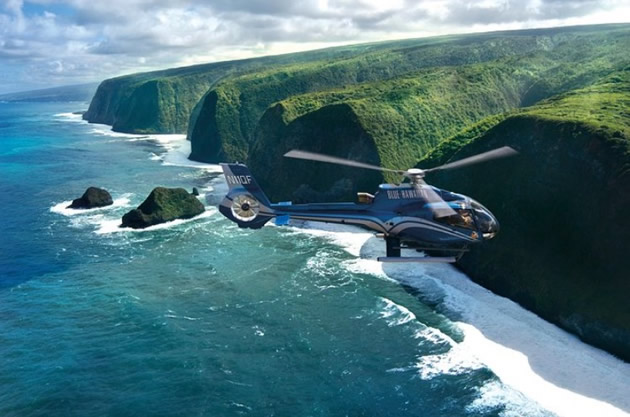A helicopter off of the Big Island of Hawaii.