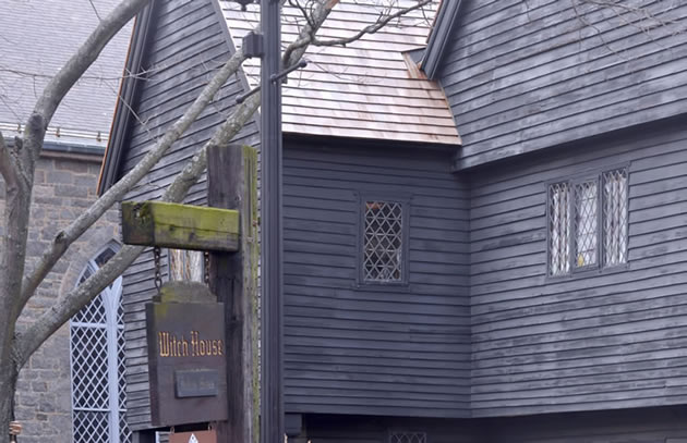 The exterior of the Salem witch house.