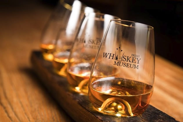 Glasses of whisky tasters at the Irish Whisky Museum in Dublin, Ireland.