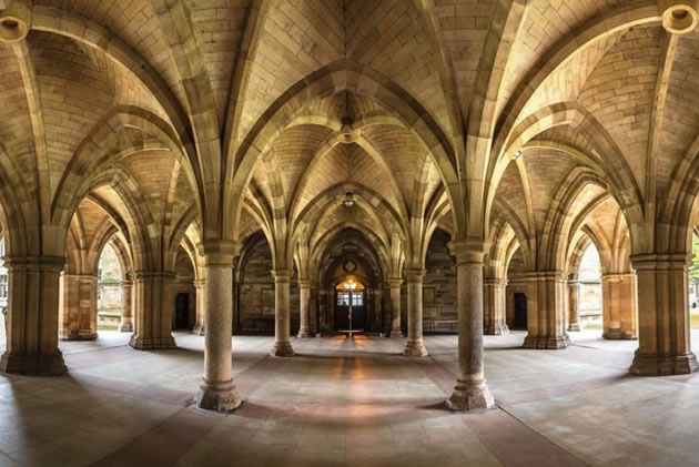 The interior of a gothic building in Glasgow, Scotland.