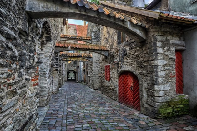 A walkway with gothic architecture in Estonia.