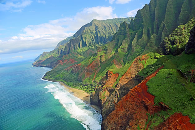 The Na Pali coast from the air on the island of Kauai.