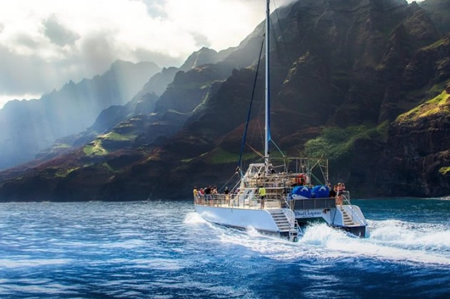 A boat near the coast of Kauai, Hawaii.