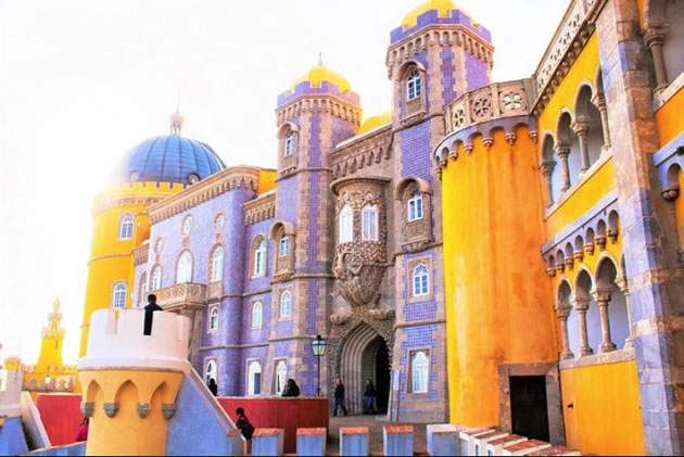 Colorful historic buildings in the town of Sintra in Portugal.