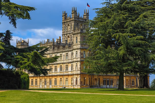 """Historic """"Downton Abbey"""" from the front lawn."""