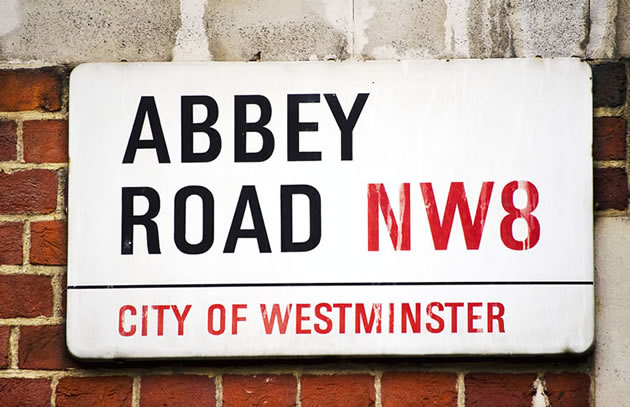 A road sign for Abbey Road in London.