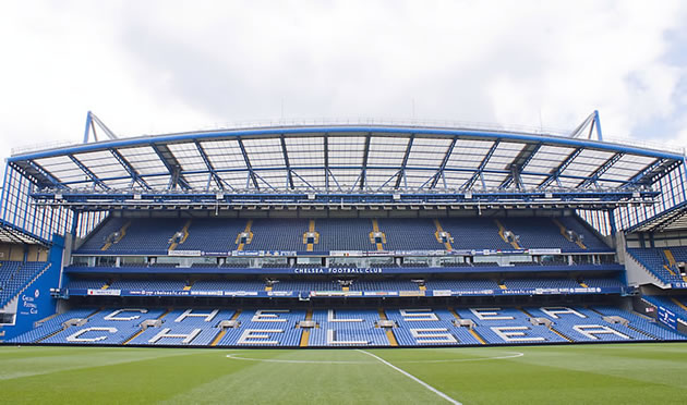 The empty stands at Stamford Bridge.