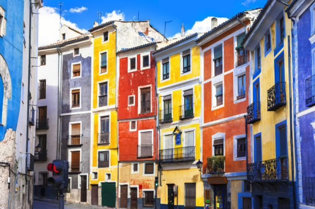 Colorful houses in the town of Cuenca, Spain.