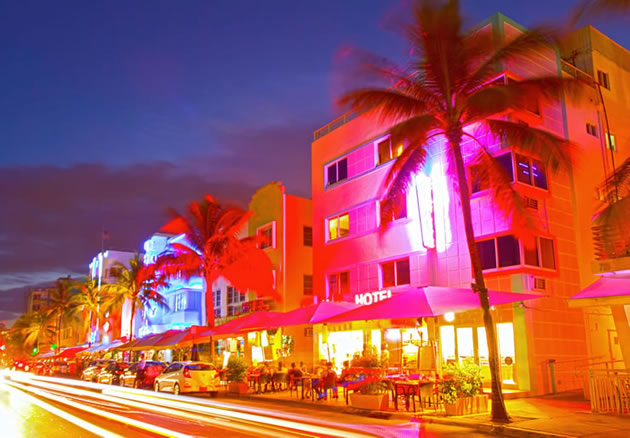 A time lapse shot of a cafe in Miami Beach, Florida.