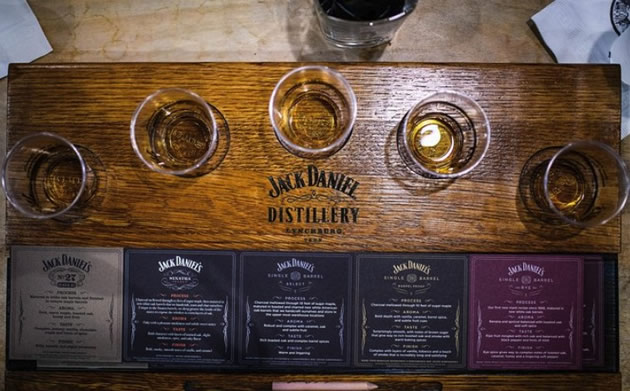 Five tastes of Jack Daniels at the distillery in Shelbyville, Tennessee.