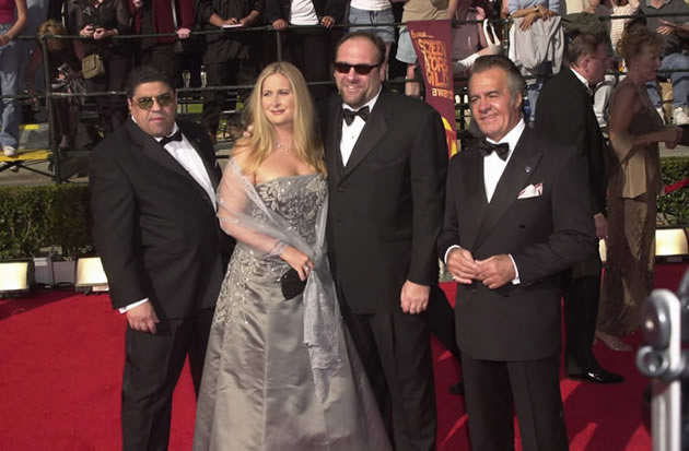 The lead actors of the Sopranos TV show arrive at the Emmy awards show.