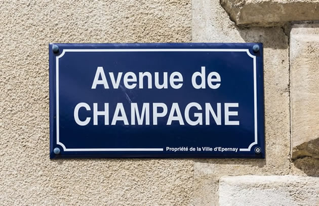 """An image of the """"Avenue de Champagne"""" street sign in Epernay, France."""
