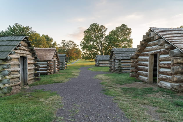 The cabins at Valley Forge outside of Philadelphia.