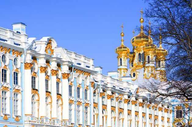 The exterior of the Catherine Palace in St. Petersburg.