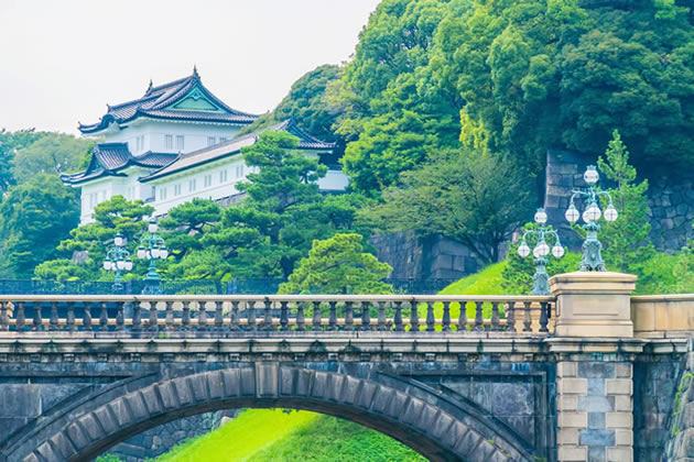 The Imperial Palace and cross bridge in Tokyo, Japan.