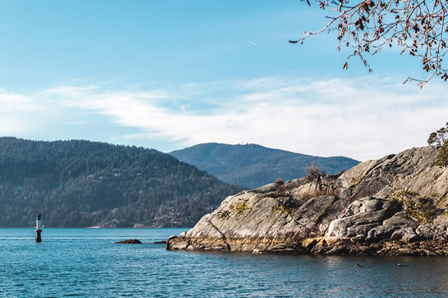 A rock formation in the middle of Horseshoe Bay in Vancouver, Canada.