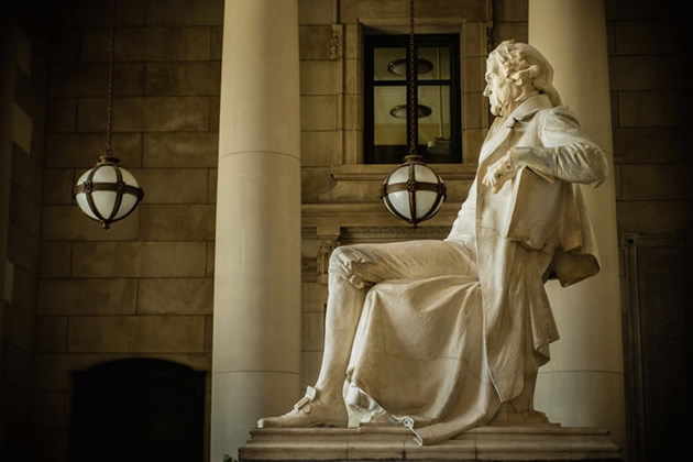 The silhouette of Thomas Jefferson at the Jefferson Memorial in Washington, D.C.