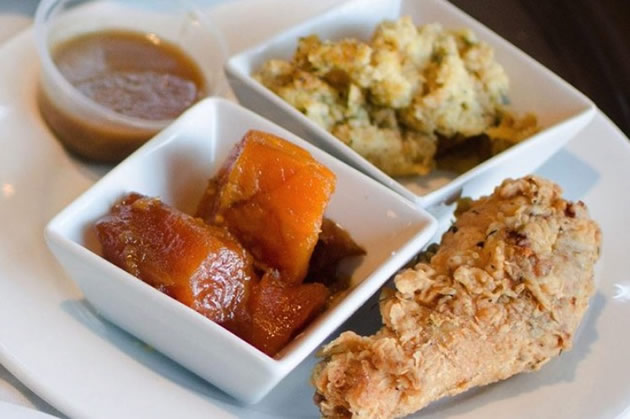 Fried chicken on a plate in Atlanta, Georgia.