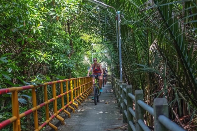 Cyclists in Banjakiti Park in Thailand.