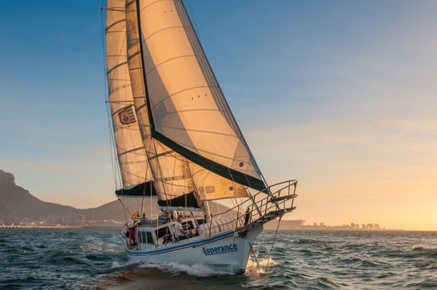 A schooner takes to sea near Cape Town, South Africa.