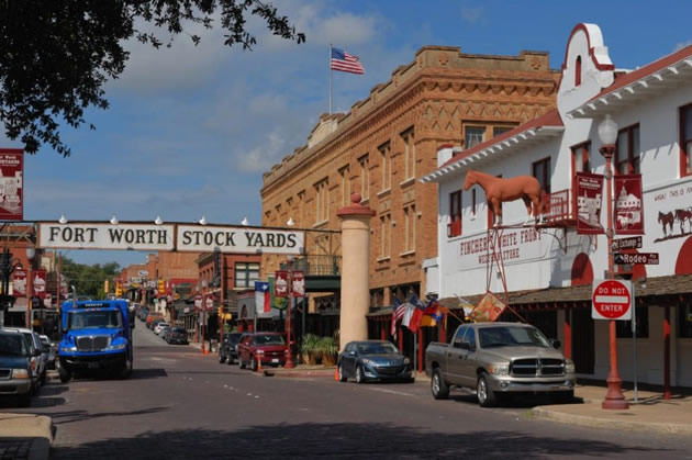 A street in old town Fort Worth, Texas.