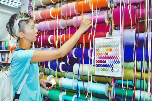 Multi-colored threads and accessories on offer in Hong Kong's fashion district of Sham Shui Po.