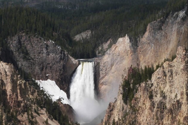 A grand waterfall in Yellowstone Park.