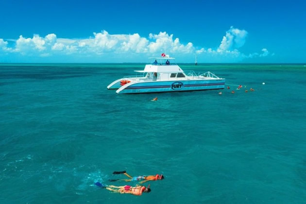 Double-hulled boat anchored in Key West waters as snorkelers swim.