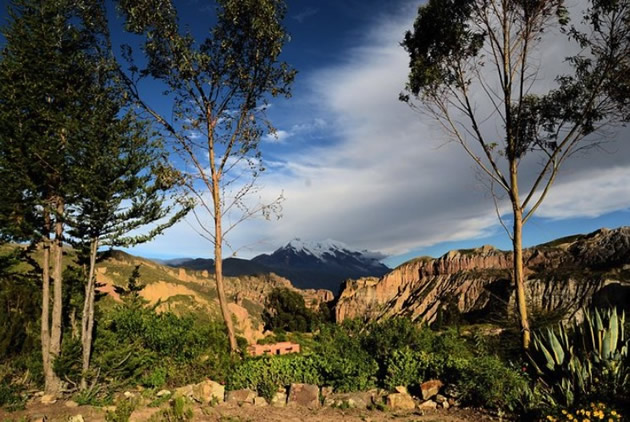 Snow-capped mountain viewed from Palca Canyon outside La Paz.
