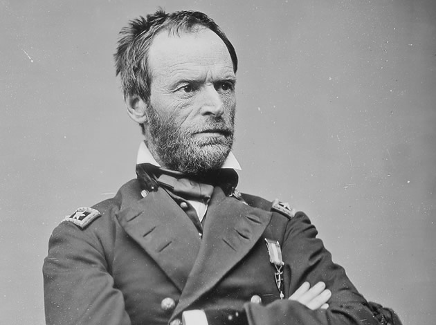 A portrait of William Tecumseh Sherman.