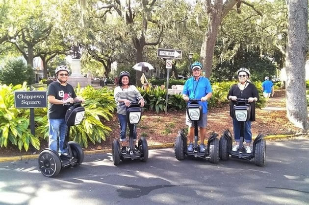 Tourists on segways in Savannah, Georgia.