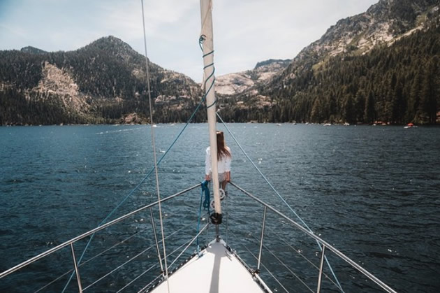 Foredeck of a sailboat on Lake Tahoe.