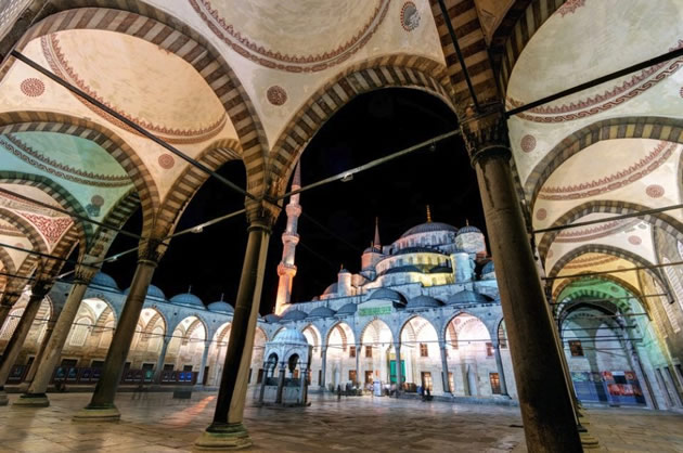 Istanbul's Blue Mosque by night.