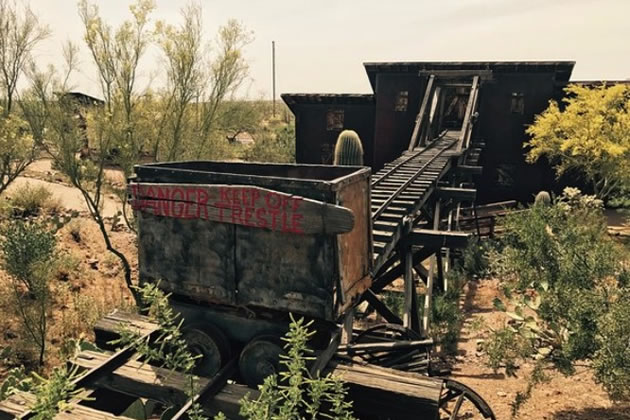 Mining carts in the old Southwest.