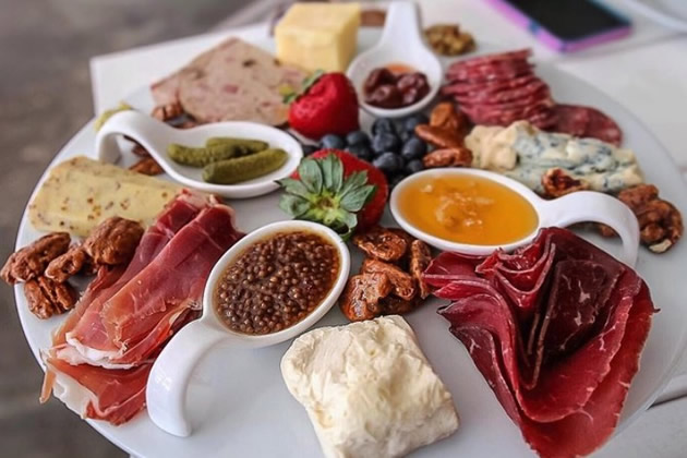 A plate of cold cuts in San Antonio, Texas: Part if a San Antonio food tour.