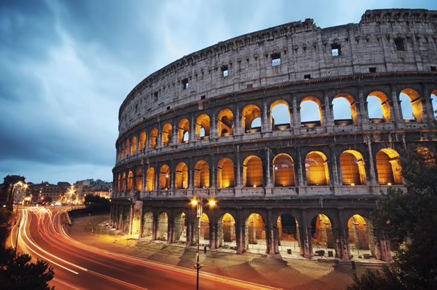 Nighttime view of Rome's Colosseum.
