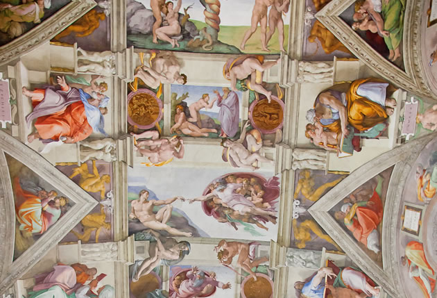 Religious figures in Sistine Chapel painting.