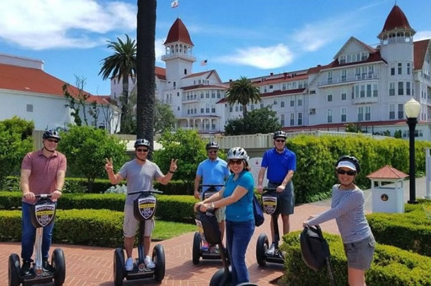 Segway riders outside Del Coronado Hotel in San Diego.