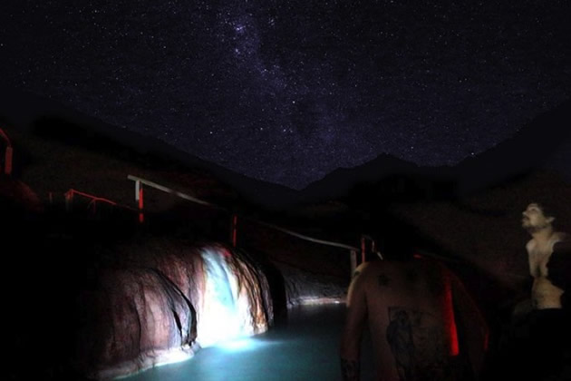 Hot springs enjoyed by tourists as they star gaze.