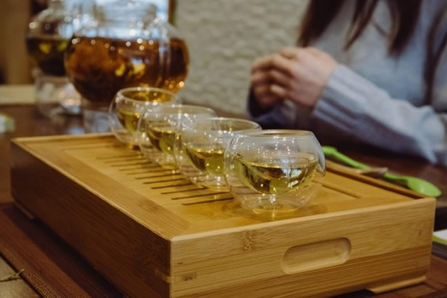 Four cups of exotic tea at a cafe in Montreal, Canada.